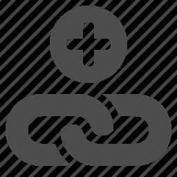 add, chain, hyperlink, internet, link, plus, web icon