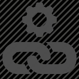 chain, gear, hyperlink, link, seo, sprocket, web link icon