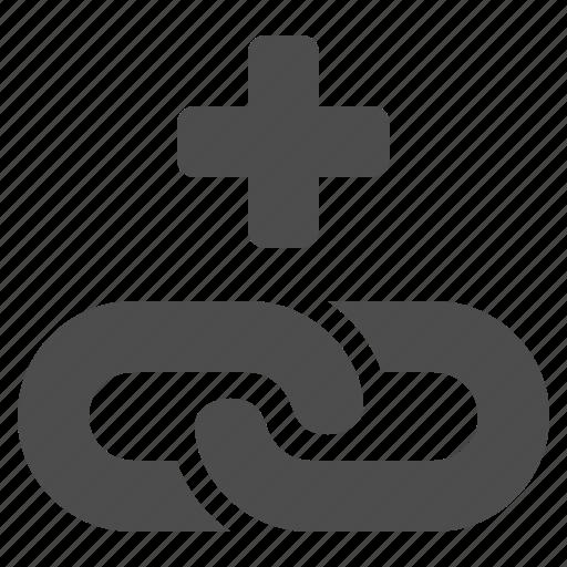 add, hyperlink, internet, link, plus, web icon