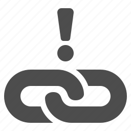 chain, exclamation mark, hyperlink, link, web, web link icon
