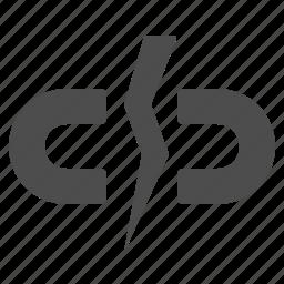 broken, chain, hyperlink, link, web icon