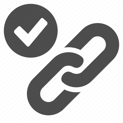 chain, check mark, connection, hyperlink, internet, link, web icon