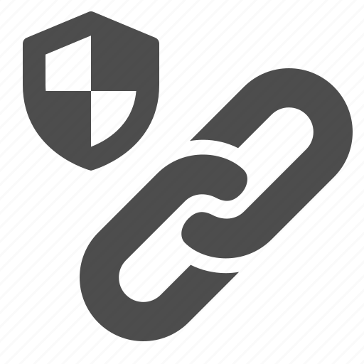 hyperlink, internet, link, security, shield, web, web link icon