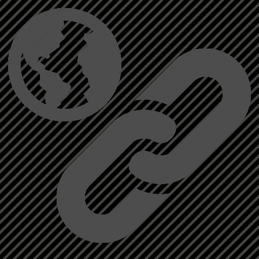 chain, earth, globe, hyperlink, link, web link icon