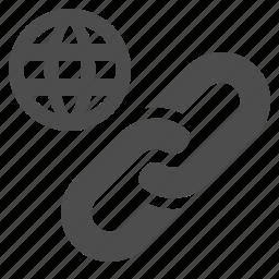 globe, hyperlink, internet, link, network, web, web link icon