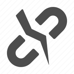 broken, chain, hyperlink, internet, link, web, web link icon