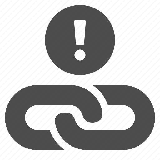 chain, connection, exclamation mark, hyperlink, link, web, web link icon