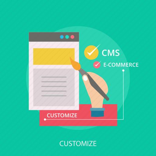 customize, ecommerce, internet, maintenance, paint, repair, website icon