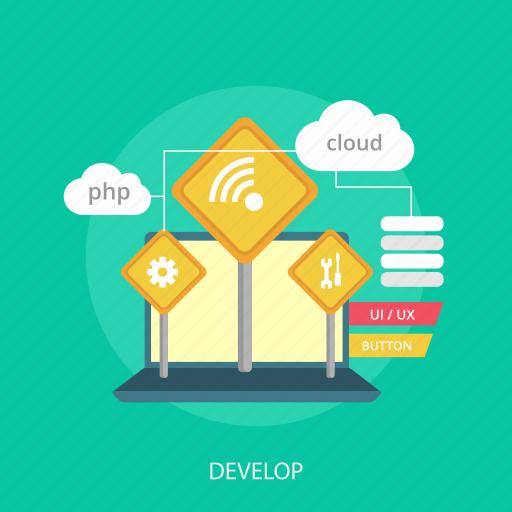 cloud, develop, internet, laptop, maintenance, repair, website icon