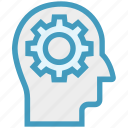brainstorming, cogwheel, gear, head, idea, marketing, strategy icon