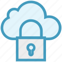 cloud, data, lock, marketing, network security, protection, security icon