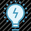 bulb, creative, idea, lamp, light bulb, marketing, thunder icon