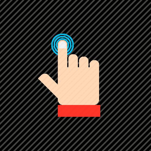 click, hand, press, touch icon