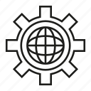 cog, gear, globe, world icon