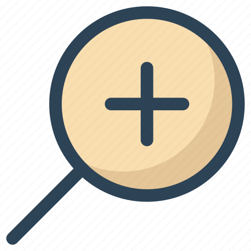 find, in, magnifier, magnify glass, plus, search, zoom icon