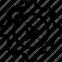cogwheel, gear, media, play, settings icon