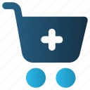 buy, cart, online, plus, shopping, trolley, web icon