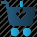 buy, cart, down arrow, online, shopping, trolley, web