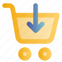buy, cart, down arrow, online, shopping, trolley, web icon