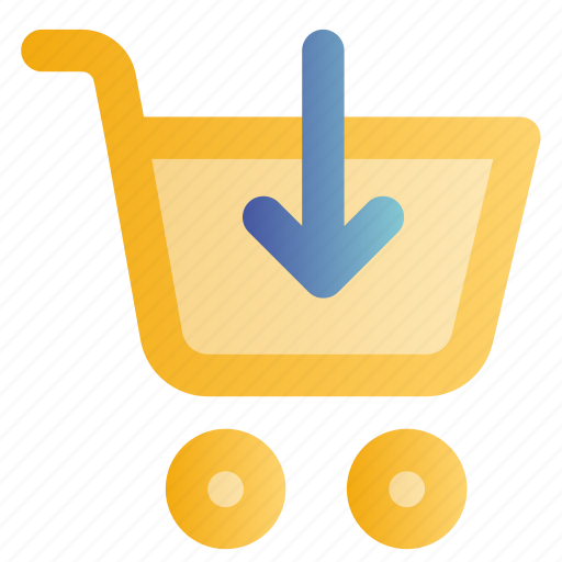 buy, cart, down arrow, online, shopping, trolley, web icon