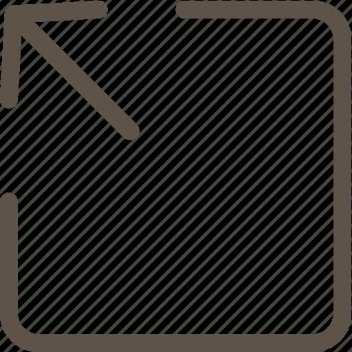 arrow, box, web icon