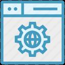 browser, gear, globe setting, page, web, webpage, website