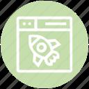 browser, page, rocket, spaceship, web, webpage, website