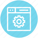 browser, gear, page, setup, web, webpage, website icon