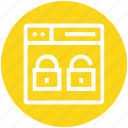 browser, locked, page, unlocked, web, webpage, website