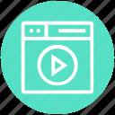 browser, media, page, video play, web, webpage, website