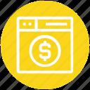 browser, dollar, money, page, web, webpage, website
