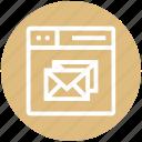browser, envelopes, letters, page, web, webpage, website