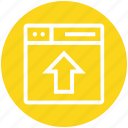 arrow, browser, page, upload, web, webpage, website