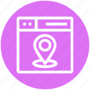 browser, location, map pin, page, web, webpage, website