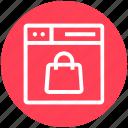 browser, hand bag, page, shopping bag, web, webpage, website