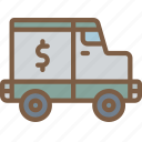 banking, finance, money, truck icon