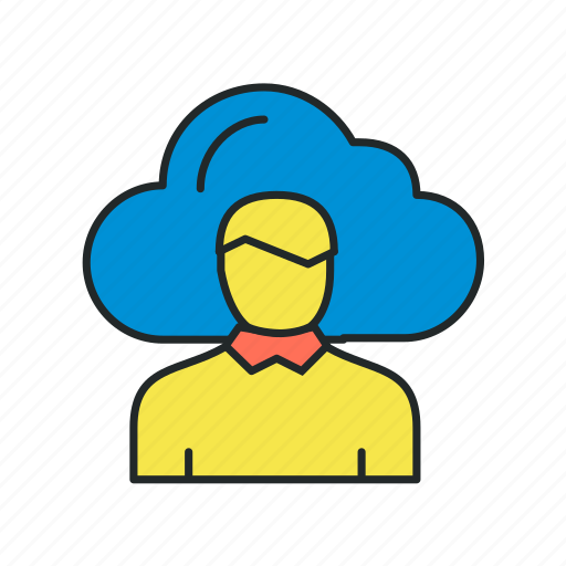 cloud, computing, data, employee, expert, remote, solution icon
