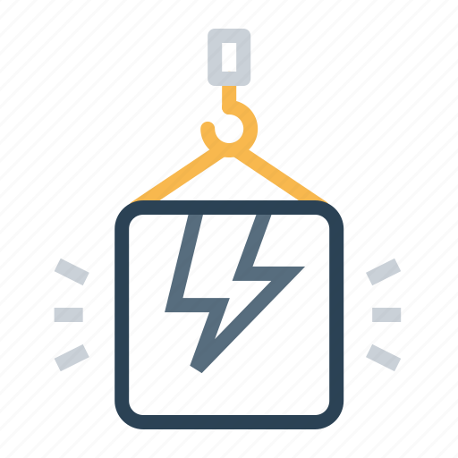 climb, crain, electricity, high, lift, package, thunder icon
