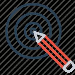 board, bullseye, dart, goal, idea, pencil, target icon