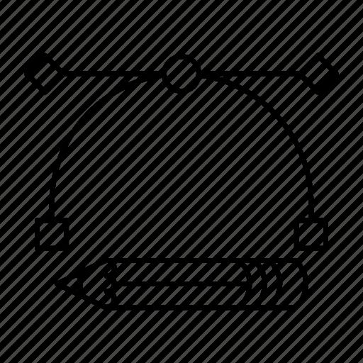 bezier, curve, design, pen icon