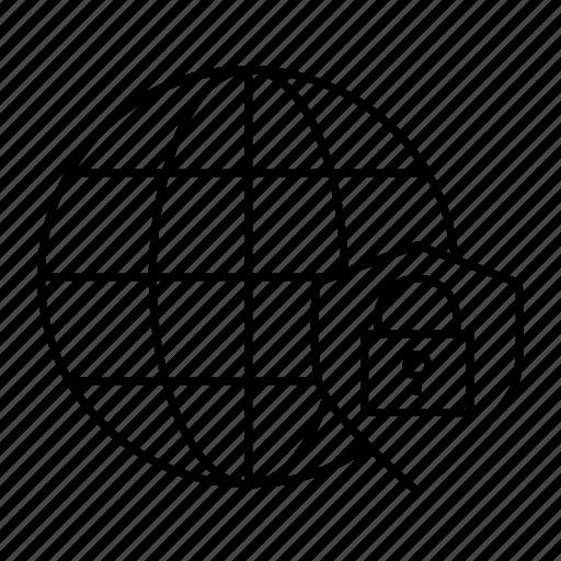 lock, secure, shield, world icon