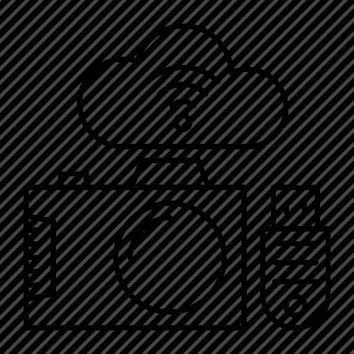 camera, capture, cloud, usb icon