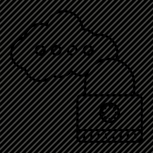 cloud, lock, security, server icon