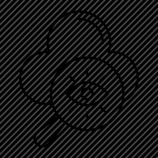 cloud, magnifier, search, server icon