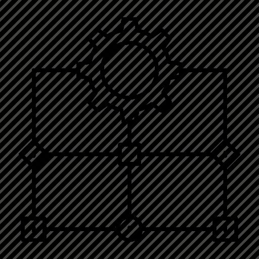 diagram, flow, planning, setting icon
