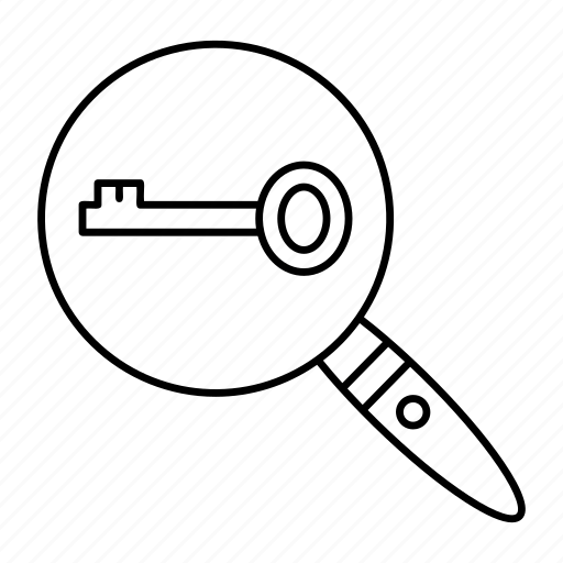 glass, key, magnifier, search icon