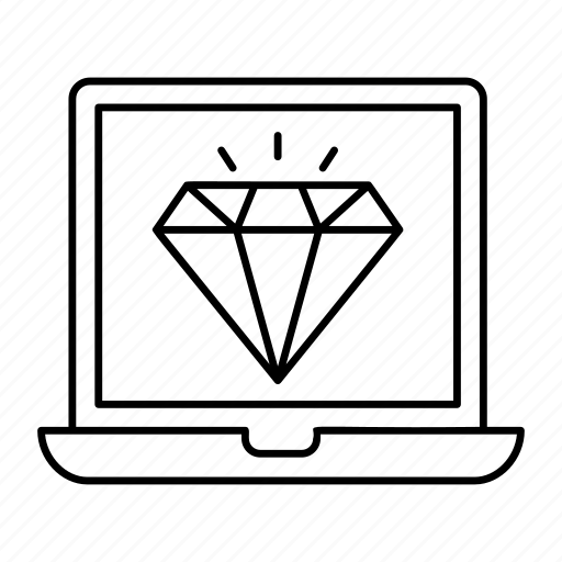 device, diamond, finance, laptop icon