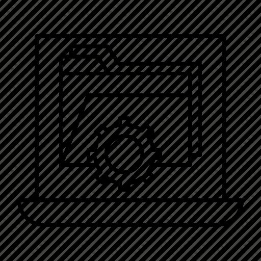 archive, folder, laptop, setting icon