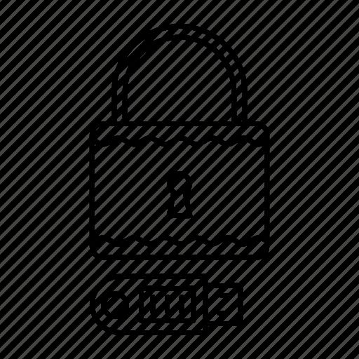 drive, lock, padlock, usb icon