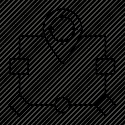 diagram, flow, location, map icon